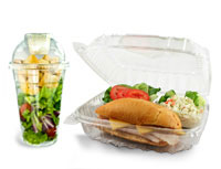 Foam hinged lid container with lunch and salad