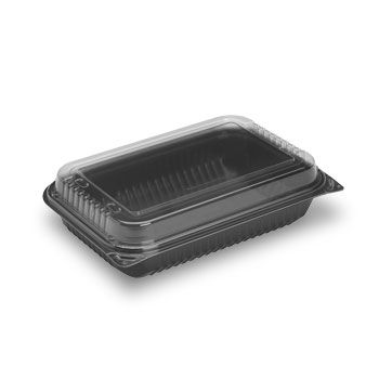 Creative Carryouts® BoxLine™ Black Base/Clear Lid Hinged Containers