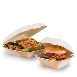 Bare® by Solo® Sugarcane (Bagasse) Hinged Containers