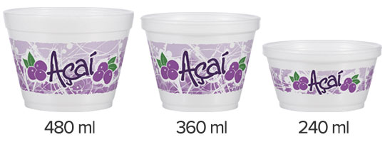 three foam containers with acai stock print